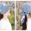 Pre-order หมวกแฟชั่น หมวกแก็ปปีกกว้าง หมวกฤดูร้อน กันแดด กันแสงยูวี สีฟ้าอ่อนแต่งด้วยผ้าพิมพ์ลายดอกไม้ thumbnail 3