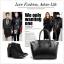 (Pre-order) กระเป๋าหนังแท้ กระเป๋าสะพายผู้หญิง หนังเรียบ แบบคลาสสิค สไตล์ยุโรป อเมริกา สีดำ thumbnail 5