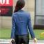 (Pre-order) เสื้อแจ็คเก็ตหนังแท้ เสื้อหนัง เสื้อโค๊ทหนัง เสื้อหนังแกะ แฟชั่นเสื้อหนัง สีน้ำเงิน thumbnail 3