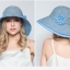 Pre-order หมวกแฟชั่น หมวกฤดูร้อน กันแดด หมวกกันแสงยูวี ผ้าลินิน สีฟ้า thumbnail 2