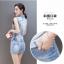 Pre-Order ขุดเสื้อแจ็คเก็ตยีนส์คอปกแขนกุด กระโปรงยีนส์สั้น ยีนส์ฟอกสีประดับเพชร แฟชั่นเกาหลี thumbnail 4
