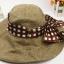 Pre-order หมวกแฟชั่น หมวกปีกกว้าง หมวกฤดูร้อน กันแดด ผ้าลินิน ผูกโบว์ลายจุด สีกาแฟ thumbnail 2