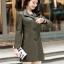 (Pre-order) เสื้อแจ็คเก็ตหนังแท้ เสื้อโค๊ตยาว หนังแกะ แฟชั่นเกาหลี สีเขียวทหาร thumbnail 1