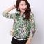 Pre-order เสื้อเชิ้ตชีฟองซีทรู แขนยาว เสื้อทำงาน พิมพ์ลายดอกไม้สีเขียว แฟชั่นสไตล์เกาหลี thumbnail 2