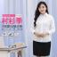 (Pre-order) เสื้อเชิ้ตทำงาน เสื้อเชิ้ตผู้หญิงแขนยาว สีขาว ไซส์ใหญ่ thumbnail 3