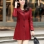 (Pre-order) เสื้อแจ็คเก็ตหนังแท้ เสื้อโค๊ตยาว หนังแกะ แฟชั่นเกาหลี สีไวน์แดง thumbnail 2