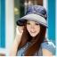 Pre-order หมวกแฟชั่น หมวกแก็ปปีกกว้าง หมวกฤดูร้อน กันแดด ผูกโบว์ลายจุด สีบลูยีนส์ thumbnail 4
