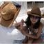 (Pre-order) หมวกปีกกว้าง หมวกสาน ป้องกันแดด สำหรับกิจกรรมกลางแจ้ง เที่ยวทะเล สีเบจ thumbnail 3