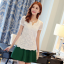 Pre-order เสื้อฤดูร้อนผ้ายืด ทอลูกไม้ คอวี สไตล์แฟชั่นเกาหลีแท้ สีขาว thumbnail 1