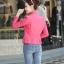 Pre-Order เสื้อแจ็คเก็ตหนัง เสื้อแจ็คเก็ตผู้หญิง เข้ารูปพอดีตัว คอจีน สีแดงชมพู แต่งซิปเก๋ มีปก แฟชั่นเกาหลี thumbnail 2