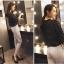 Pre-Order กางเกงสแลคผู้หญิง กางเกงทำงาน ผ้าโพลีเอสเตอร์ กางเกงทรงดินสอ เอวสูง ไซส์ใหญ่ สีครีม thumbnail 2