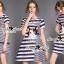Seoul Secret Say's .... Catty Cat Stripe Chic Dress Material : เดรสเก๋ๆ ใส่ง่ายๆ สไตล์คุณหนูๆ เก๋ๆ ด้วยงานพิมพ์ลายริ้ว เติมความน่ารักด้วยงานปักลายแมว มีดีเทลเก๋ๆ ด้วยงานแต่งด้วยลายริ้วสลับเป็นชั้นLayer thumbnail 2