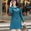 (Pre-order) เสื้อแจ็คเก็ตหนังแท้ เสื้อโค๊ตยาว หนังแกะ แฟชั่นเกาหลี สีฟ้า thumbnail 2