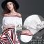 ชุดเซทแฟชั่น เซ็ตเสื้อ+กระโปรงใส่เข้าชุดกัน ตัวเสื้อเปิดไหล่สีขาวเนื้อผ้า cotton thumbnail 12