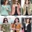 Pre-Order เสื้อสูทผู้หญิงแฟชั่นเกาหลี เสื้อสูทเข้ารูปตัวสั้น ปกใหญ่สองชั้น ตกแต่งด้วยผ้าลูกไม้ที่ปกและตัวเสื้อ แขนยาว กระดุม3 เม็ด 2 แถว thumbnail 3