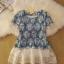 เดรสผ้ายีนส์พิมพ์ลาย ตัดต่อชายลูกไม้ มีซับในตัดต่อชายเป็นระบายผ้าชีฟอง thumbnail 1