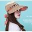 Pre-order หมวกแฟชั่น หมวกแก็ปปีกกว้าง หมวกฤดูร้อน กันแดด กันแสงยูวี สีกาแฟแต่งด้วยผ้าพิมพ์ลายดอกไม้ thumbnail 2