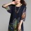 (Pre-Order) เดรสผ้าชีฟอง แขนสั้น มีซับใน พิมพ์ลายขนนกยูงโทนสีน้ำเงิน แฟชั่นสไตล์เกาหลี ปี 2015 thumbnail 3