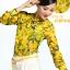 Pre-Order เสื้อผ้าแฟชั่นผู้หญิง คอผูก แขนยาว พิมพ์ลายมะนาว ผ้าชีฟองเนื้อดี สีเหลือง thumbnail 5
