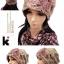 (Pre-order) หมวกคลุมผม หมวกไหมพรมผ้าฝ้ายถัก แฟชั่นหมวกคลุมผม สวยเก๋ ปักลวดลายตาข่าย-ดอกไม้ สีกากี thumbnail 2