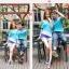 เสื้อคู่รัก ชายหญิง สีฟ้าตัดต่อเทาม่วง Korean version couple shirt personality thumbnail 1