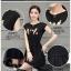ชุดเดรส สีดำยืดหยุ่นพิมพ์ลายการ์ตูนหน้าอก ตัดต่อกระโปรง2ชั้นด้วยผ้าชีฟองโปร่งแสงตัดขอบสีดำ thumbnail 14