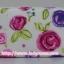 กระเป๋าเครื่องสำอางค์ นารายา ผ้าคอตตอน พื้นสีขาว ลายดอกไม้หลากสี มีกระจกในตัว Size L (กระเป๋านารายา กระเป๋าผ้า NaRaYa) thumbnail 4