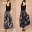 (Pre-Order) กระโปรงกางเกง ผ้าลินิน ผ้าพิมพ์ลาย แฟชั่นมาใหม่สไตล์เกาหลี (ลาย A ดอกไม้ Pteris ลาย B สีฟ้า) thumbnail 2