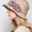 Pre-order หมวกผ้าลินินติดโบว์ดอกไม้แฟชั่นฤดูร้อน กันแดด กันแสงยูวี สวยหวาน สีเบจ thumbnail 1