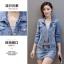 Pre-Order ชุดเสื้อแจ็คเก็ตยีนส์คอปกแขนยาว กระโปรงยีนส์สั้น ยีนส์ฟอกสีประดับเพชร แฟชั่นเกาหลี thumbnail 6
