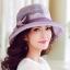 Pre-order หมวกผ้าไหมติดโบว์แฟชั่นฤดูร้อน กันแดด กันแสงยูวี สวยหวาน สีม่วง thumbnail 1