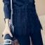 เสื้อเชิ๊ตแฟชั่น คอปกแขนยาว ตัดต่อชายลูกไม้ มีสายรูดปรับได้ กระดุมหน้าอก สีดำ thumbnail 5