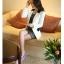 Pre order เสื้อสูทแฟชั่นเกาหลี ปกสูท แขนยาว แต่งด้วยผ้าต่างสีที่ปกและกระเป๋า สีขาว thumbnail 2
