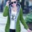 Pre-Order เสื้อโค้ทผู้หญิงแฟชั่น สีเขียว แต่งริมสีเทา มีฮู๊ด บุด้วยขนสัตว์สังเคราะห์นิ่มๆ แขนจั๊ม แฟชั่นเกาหลี thumbnail 1