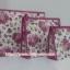 กระเป๋าเครื่องสำอางค์ นารายา ผ้าคอตตอน ทรงสี่เหลี่ยมผืนผ้า พื้นสีขาว ลายดอกกุหลาบ สีชมพู เป็นชุด 3 ชิ้น Size L,M,S (กระเป๋านารายา กระเป๋าผ้า NaRaYa) thumbnail 2