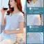 Pre-order เสื้อฤดูร้อนผ้ายืด ทอลูกไม้ คอวี เสื้อแฟชั่นเกาหลีแท้ สีฟ้า thumbnail 4