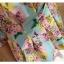 Pre-Order เสื้อชีฟองพิมพ์ลายดอกไม้ คอกลม แขนสั้นแค่ศอก จีบทวิสที่เอว ยาวคลุมสะโพก สวยหวานมาก พื้นสีเขียว thumbnail 5