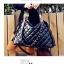 กระเป๋าแฟชั่นเกาหลี กระเป๋าแฟชั่นปักหมุด MAOMAOBAG ปั้มลายตารางสี่เหลี่ยมใหญ่สีดำ thumbnail 1