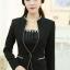 พรีออเดอร์ เสื้อสูทแฟชั่นเกาหลี สีดำ คอจีน กุ๊นริมด้วยผ้าสีครีม thumbnail 1