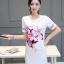 ชุดเดรสแฟชั่นเกาหลีพิมพ์ลายดอกไม้หน้าอกแขนตัดต่อซีทรูน่ารัก สีขาว thumbnail 1