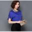 Pre-order เสื้อฤดูร้อนผ้าชีฟอง แขนใบบัว สไตล์ย้อนยุค แฟชั่นเกาหลีแท้ สีไพลิน thumbnail 2
