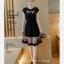 ชุดเดรส สีดำยืดหยุ่นพิมพ์ลายการ์ตูนหน้าอก ตัดต่อกระโปรง2ชั้นด้วยผ้าชีฟองโปร่งแสงตัดขอบสีดำ thumbnail 3