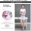 ชุดเดรสแฟชั่นเกาหลีพิมพ์ลายดอกไม้หน้าอกแขนตัดต่อซีทรูน่ารัก สีขาว thumbnail 12