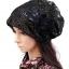 (Pre-order) หมวกคลุมผม หมวกไหมพรมผ้าฝ้ายถัก แฟชั่นหมวกคลุมผม สวยเก๋ ปักลวดลายตาข่าย-ดอกไม้ สีดำ thumbnail 1