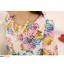 Pre-Order เสื้อชีฟองพิมพ์ลายดอกไม้ คอกลม แขนสั้นแค่ศอก จีบทวิสที่เอว ยาวคลุมสะโพก สวยหวานมาก พื้นสีขาว thumbnail 1
