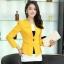 Pre-Order เสื้อสูททำงานแขนยาว เสื้อสูทผู้หญิง สูทลำลอง สีเหลือง แฟชั่นชุดทำงานสไตล์เกาหลีปี 2014 thumbnail 1