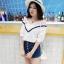 KTFNเสื้อแฟชั่นเกาหลี ลุคหวานๆ ตัดต่อลุกไม้ คอวีลูกไม้โครเชต์ สีขาว thumbnail 10