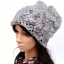 (Pre-order) หมวกคลุมผม หมวกไหมพรมผ้าฝ้ายถัก แฟชั่นหมวกคลุมผม สวยเก๋ ปักลวดลายตาข่าย-ดอกไม้ สีเทา thumbnail 1