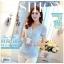 Pre-order เสื้อฤดูร้อนผ้ายืด ทอลูกไม้ คอวี เสื้อแฟชั่นเกาหลีแท้ สีฟ้า thumbnail 2