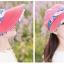 Pre-order หมวกแฟชั่น หมวกแก็ปปีกกว้าง หมวกฤดูร้อน กันแดด กันแสงยูวี สีแดงแตงโมแต่งด้วยผ้าพิมพ์ลายดอกไม้ thumbnail 3